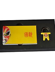 Personalizado Amarelo Ópera Chinesa Estilo gravado Negócios Titular com Chaveiros