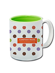 Personalized Polka Dot Pattern Green Mugs