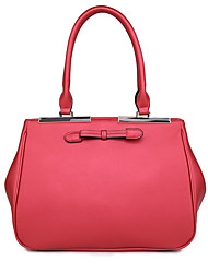 8th PINK Women's Cowhide Red Dull Polish Bowknot Handbag