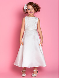 Lanting Bride A-line Tea-length Flower Girl Dress - Satin Sleeveless Scoop with Appliques / Bow(s)