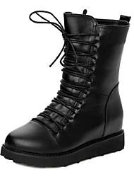 Leder Flache Heel Kampf Ankle Boots