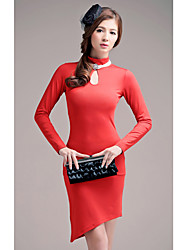 Women's Formal Bodycon Dress,Solid Cowl Above Knee Red / Black Others All Seasons