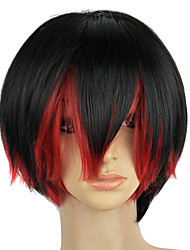 Capless Synthetic Black Red Mixed Color Straight Party Wig
