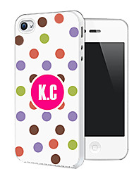Personalized Dots Pattern Back Case for iPhone 4/4S (Assorted Color)