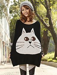 Perle Big Face Cat Rabbit Xinhuiyi femmes Batwing Sleeve Black Cardigan Tricot