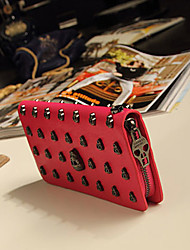 MIQIANLIN Classic Skull Pattern PU Leather Long Wallet & Card Bag(Red)