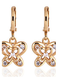 KU NIU Women's Gold Plating Zircon Long 25Mm Earring Er0186