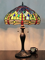 Butterflies And Beads Table Lamp, 2 Light, Tiffany Resin Glass Painting