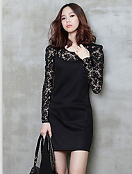 'S Fashiongirl Donna Lace Long Sleeve Black Dress
