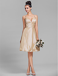 Lanting Bride® Knee-length Taffeta Bridesmaid Dress - A-line Spaghetti Straps Plus Size / Petite with Side Draping / Ruching