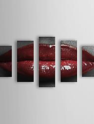 Pintado a mano de la pintura al óleo Personas boca roja se extendía Frame Set de 5 1311-PE1104