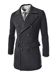 Men'S Stitching Leather Collar Nylon Trench Coat