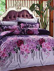 Duvet Cover Set, 4-Piece Oil Print Jewel Full Size