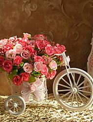 """10 """"Fresh Estilo Pink Roses Com Triciclo Design Bastão Vaso"""