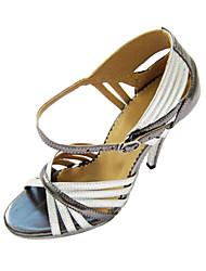 Customizable Women's Dance Shoes Latin/Ballroom Leatherette Customized Heel Silver