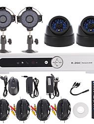 4-канальная система безопасности H.264 4CH DVR Kit (2 цилиндрические + 2 купольные камеры видеонаблюдения с 1/3 Sony CCD CMOS)