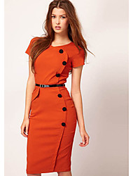 Shozilan Femmes Avec Six boutons longue robe