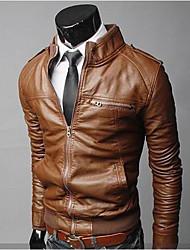 régler cuir zippée col montant décontracté manteau court