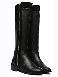 Bojun Vrouwen Knappe Vintage Zipper Binnen Flat Heel Zwarte Laarzen