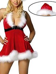 Menina sexy profunda da Mulher V-Neck Christmas Costume