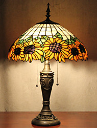 Sunflower Decoration Table Lamp, 2 Light, Tiffany Resin Glass Painting