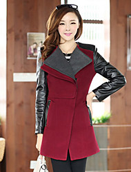 Women's Coat,Color Block Long Sleeve Winter Wool / Others Medium