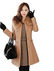 Улыбка Женские Fit меховой воротник пальто ватки