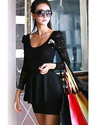 Women's Lace Black/Red Dress , Lace/Work Deep U Long Sleeve Lace/Ruffle