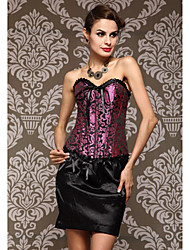CAOJI Women's Sexy Purple Strapless  Floral Print Corset and T-back