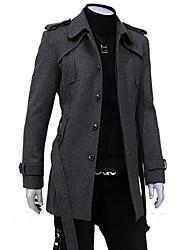 HCZ Men's Fashion Vintage Single-Breasted Epaulette Tweed Overcoat 552