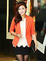 Women's Black/Orange/White Blazer , Casual/Work ¾ Sleeve