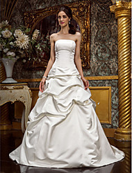 Lanting Bride A-line / Princess Petite / Plus Sizes Wedding Dress-Sweep/Brush Train Strapless Satin