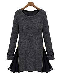 Tee-shirt Aux femmes,Mosaïque Décontracté / Quotidien simple Toutes les Saisons / Hiver Manches Longues Col Arrondi Noir / Gris Moyen