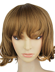 Capless Synthetic Light Brown Short Wavy Pear Wig