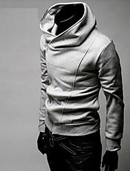 Corée Oblique Zipper capuche Blouson de Duolunduo hommes (Gris)