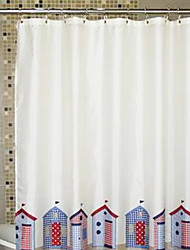"""Shower Curtain Colourful Houses Print Thick Fabric Water-resistant W71"""" x L71"""""""