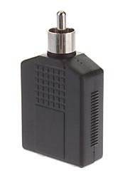 RCA macho para 2 x 6,35 milímetros Stereo Jack Fêmea Splitter Adaptador banhado a ouro