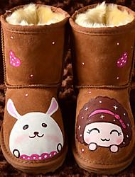 Kids 'Winter Cartoon Mädchen und Kaninchen Mid-Calf Boots