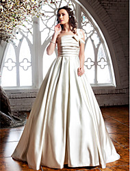 Lan Ting A-line/Princess Plus Sizes Wedding Dress - Ivory Sweep/Brush Train One Shoulder Satin