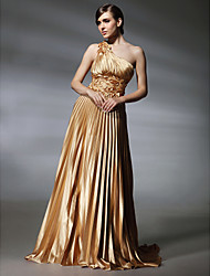 TS Couture® Formal Evening / Military Ball Dress - Gold Plus Sizes / Petite A-line / Princess One Shoulder Sweep/Brush Train Stretch Satin