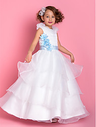 A-line Princess Floor-length Flower Girl Dress - Organza Scoop with Flower(s) Sash / Ribbon Ruching