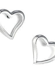 Gorgeous Sterling Silver Heart Shaped Stud Earrings