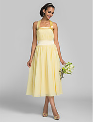 Lanting Bride Tea-length Chiffon / Stretch Satin Bridesmaid Dress A-line Halter Plus Size / Petite with Draping / Bandage