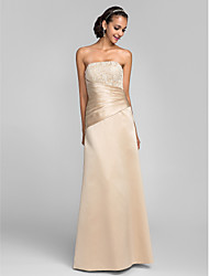 TS Couture® Formal Evening Dress - Open Back Plus Size / Petite Sheath / Column Strapless Floor-length Lace / Satin with Beading