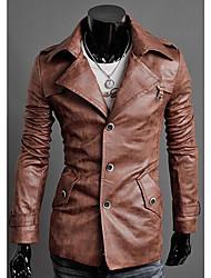 VSKA Men's Lapel Neck  Single Breasted Elegant Long Leather Coat