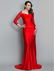 TS Couture Formal Evening Military Ball Dress - Elegant Trumpet / Mermaid V-neck Sweep / Brush Train Lace Knit with Ruching
