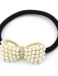 Korean Fashion Ol Lady Pearl Big Bow Hair Tie