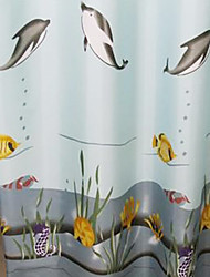 "Shower Curtain Polyester Dolphin Print Thick Fabric Water-resistant W71"" x L78"""