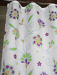 """Shower Curtain Polyester Purple Flower Print Thick Fabric Water-resistant W78"""" x L71"""""""