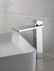 Contemporânea acabamento cromado Bancada Cachoeira torneira pia do banheiro